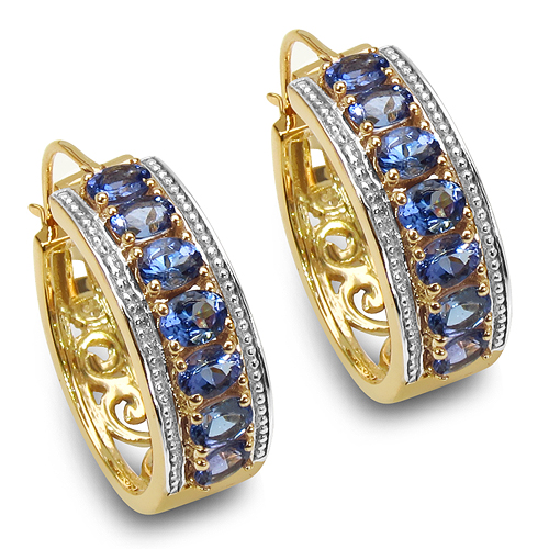 Earrings-18K Yellow Gold Plated 2.38 Carat Genuine Tanzanite .925 Sterling Silver Earrings