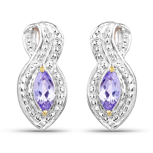 Earrings-14K Yellow Gold Plated 0.28 Carat Genuine Tanzanite .925 Sterling Silver Earrings