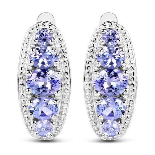 Earrings-1.62 Carat Genuine Tanzanite .925 Sterling Silver Earrings