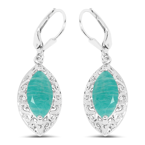 Earrings-5.09 Carat Genuine Amazonite .925 Sterling Silver Earrings
