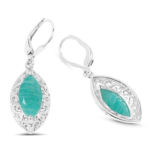 5.09 Carat Genuine Amazonite .925 Sterling Silver Earrings