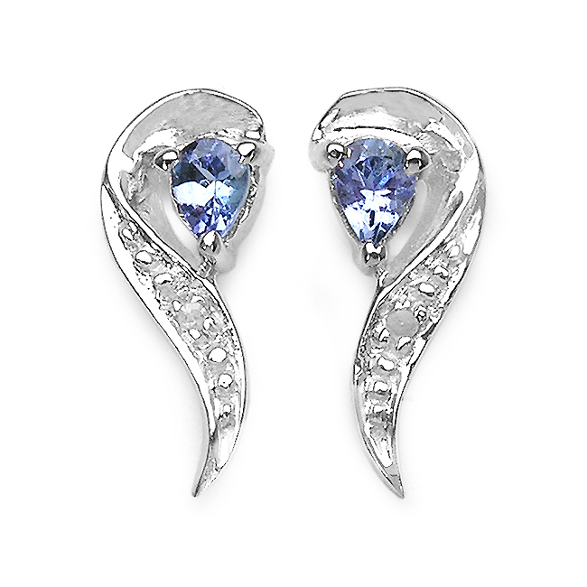 Earrings-0.29 Carat Genuine Tanzanite & White Diamond .925 Sterling Silver Earrings