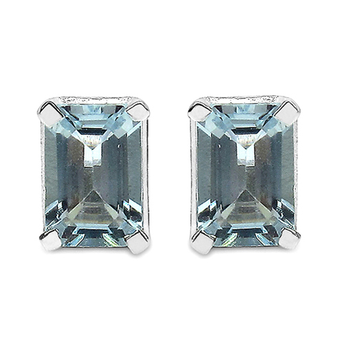 Earrings-1.04 Carat Genuine Aquamarine .925 Sterling Silver Earrings