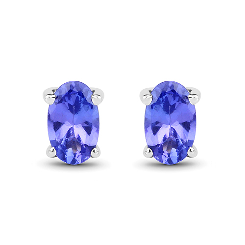 Earrings-0.50 Carat Genuine Tanzanite 14K White Gold Earrings