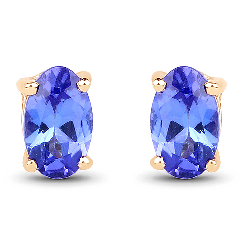 Earrings-0.48 Carat Genuine Tanzanite 14K Yellow Gold Earrings