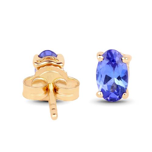 0.48 Carat Genuine Tanzanite 14K Yellow Gold Earrings