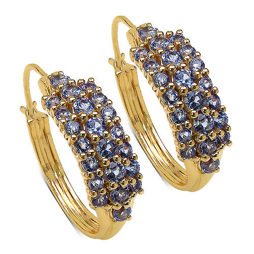 Earrings-14K Yellow Gold Plated 2.10 Carat Genuine Tanzanite .925 Streling Silver Earrings