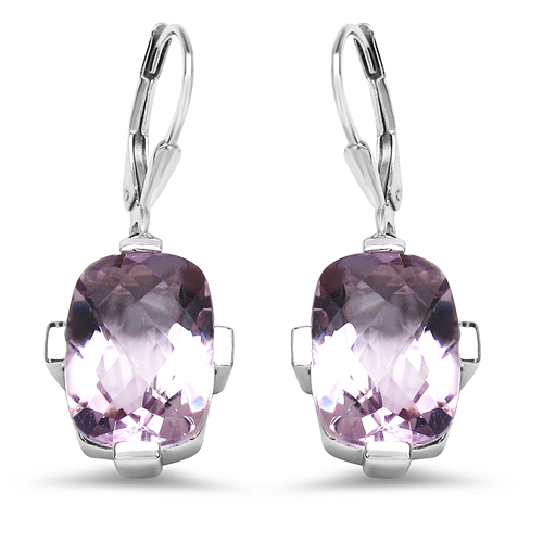Amethyst-18K Rose Gold Plated 14.30 Carat Genuine Amethyst .925 Sterling Silver Earrings