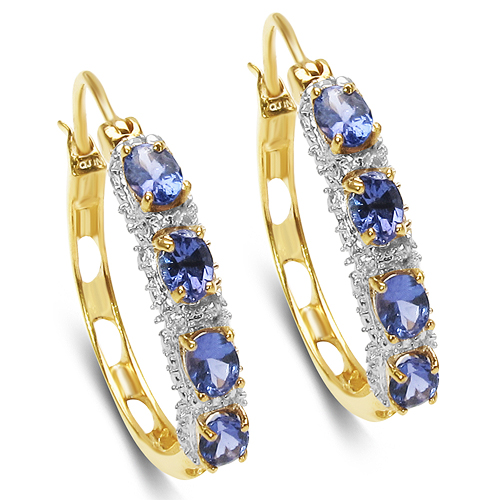 Earrings-18K Yellow Gold Plated 1.36 Carat Genuine Tanzanite .925 Sterling Silver Earrings