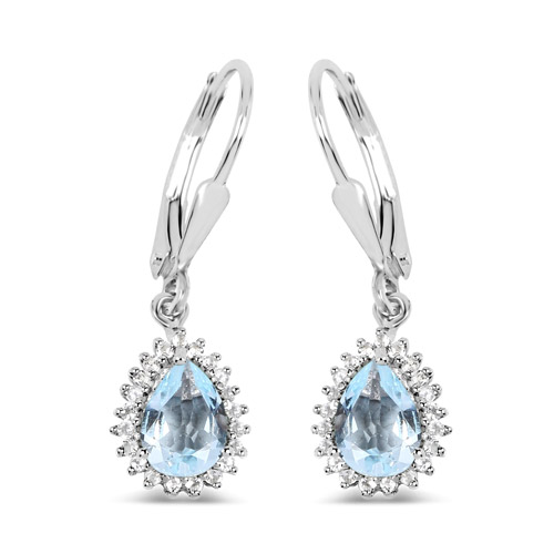 Earrings-1.51 Carat Genuine Aquamarine and White Topaz .925 Sterling Silver Earrings