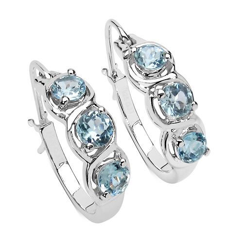 1.92 Carat Genuine Blue Topaz .925 Sterling Silver Earrings
