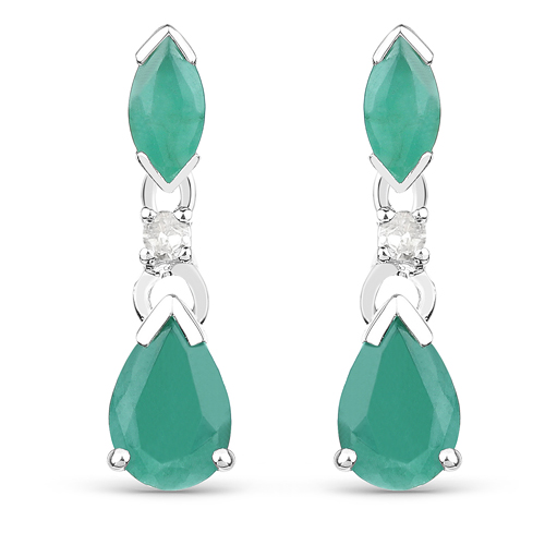 Emerald-1.03 Carat Genuine Emerald and White Diamond 10K White Gold Earrings