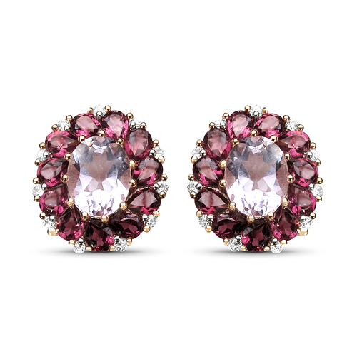 Amethyst-18K Rose Gold Plated 8.00 Carat Genuine Amethyst, Rhodolite & White Topaz .925 Sterling Silver Earrings