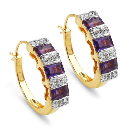 Amethyst-14K Yellow Gold Plated 1.88 Carat Genuine Amethyst & White Topaz .925 Sterling Silver Earrings