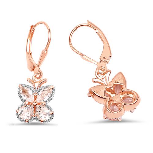 18K Rose Gold Plated 1.88 Carat Genuine Morganite .925 Sterling Silver Earrings