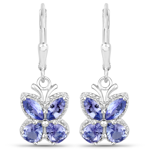 Earrings-2.08 Carat Genuine Tanzanite .925 Sterling Silver Earrings