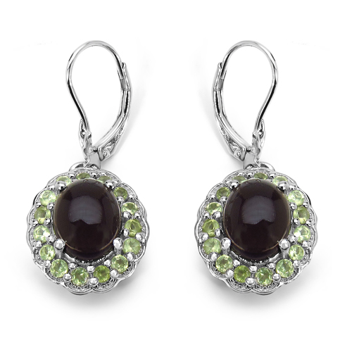 Earrings-6.85 Carat Genuine Smoky Quartz & Peridot .925 Sterling Silver Earrings