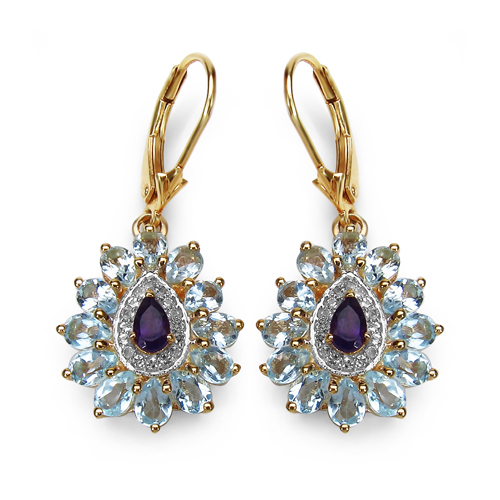 Amethyst-14K Yellow Gold Plated 4.92 Carat Genuine Amethyst, Blue Topaz & White Topaz .925 Sterling Silver Earrings