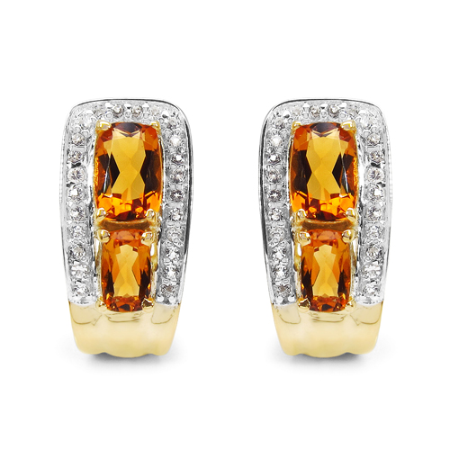Citrine-14K Yellow Gold Plated 1.94 Carat Genuine Citrine & White Topaz .925 Sterling Silver Earrings