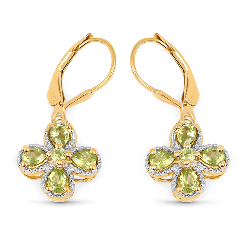 Peridot-14K Yellow Gold Plated 1.42 Carat Genuine Peridot .925 Sterling Silver Earrings