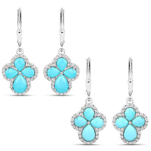 Earrings-3.93 Carat Genuine Turquoise and White Zircon .925 Sterling Silver Earrings