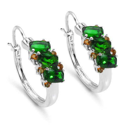 Earrings-3.06 Carat Genuine Chrome Diopside & Citrine .925 Sterling Silver Earrings