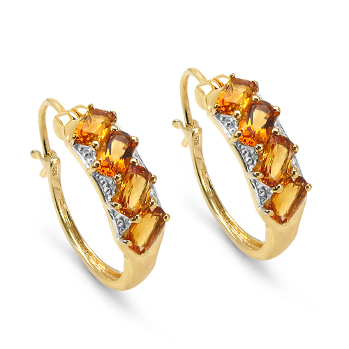 Citrine-14K Yellow Gold Plated 2.80 Carat Genuine Citrine .925 Sterling Silver Earrings