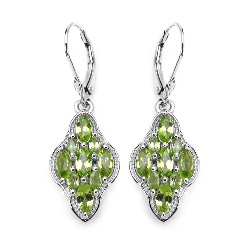 Peridot-3.30 Carat Genuine Peridot .925 Sterling Silver Earrings