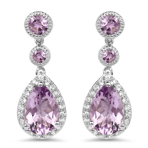 Amethyst-7.16 Carat Genuine Pink Amethyst and White Topaz .925 Sterling Silver Earrings