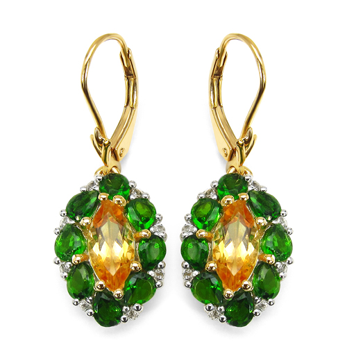 Citrine-14K Yellow Gold Plated 4.72 Carat Genuine Citrine, Chrome Diopside & White Topaz .925 Sterling Silver Earrings