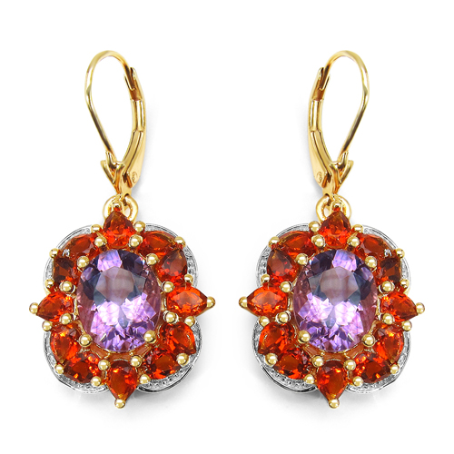 Amethyst-14K Yellow Gold Plated 8.14 Carat Genuine Amethyst & Citrine .925 Sterling Silver Earrings