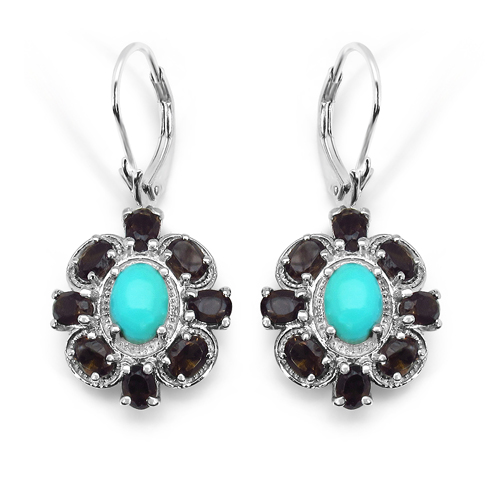 Earrings-3.68 Carat Genuine Turquoise & Smoky Topaz .925 Sterling Silver Earrings