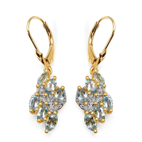 Earrings-14K Yellow Gold Plated 1.55 Carat Genuine Aquamarine & White Topaz .925 Sterling Silver Earrings