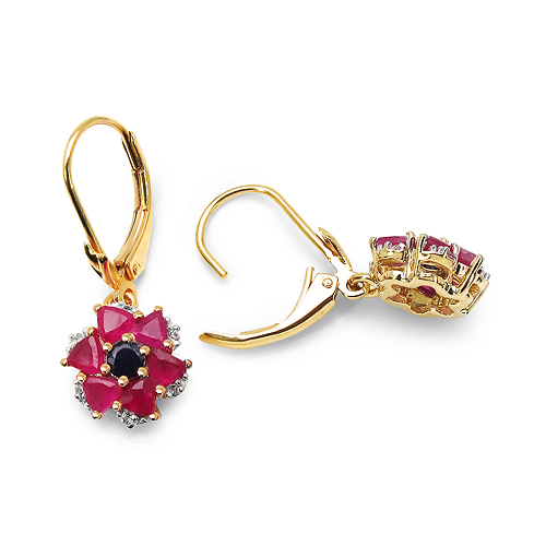 14K Yellow Gold Plated 2.12 Carat Genuine Black Sapphire, Glass Filled Ruby & White Topaz .925 Sterling Silver Earrings