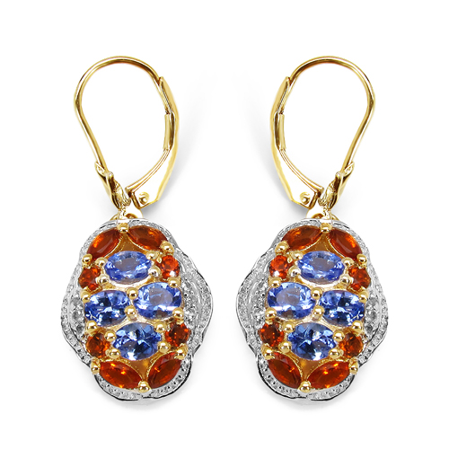 Earrings-14K Yellow Gold Plated 2.22 Carat Genuine Tanzanite, Citrine & White Topaz .925 Sterling Silver Earrings
