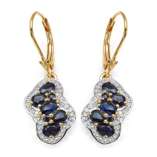 Earrings-14K Yellow Gold Plated 2.12 Carat Genuine Blue Sapphire .925 Sterling Silver Earrings