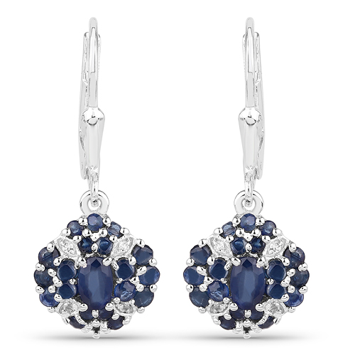 Earrings-1.54 Carat Genuine Blue Sapphire & White Topaz .925 Sterling Silver Earrings