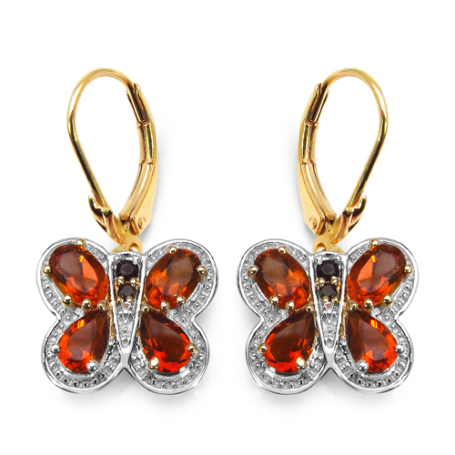 Citrine-14K Yellow Gold Plated 3.48 Carat Genuine Citrine, Smoky Topaz & White Topaz .925 Sterling Silver Earrings