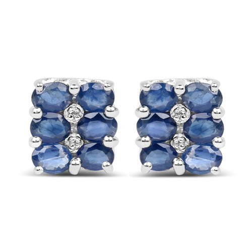 Earrings-2.66 Carat Genuine Blue Sapphire and White Diamond .925 Sterling Silver Earrings