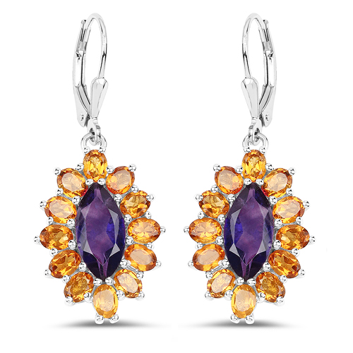 Amethyst-6.54 Carat Genuine Amethyst & Madeira Citrine .925 Sterling Silver Earrings