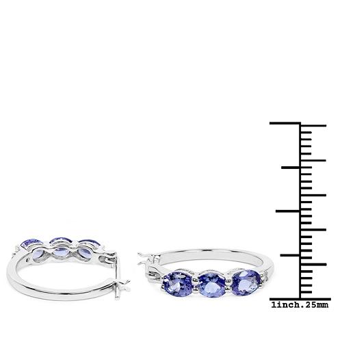 1.99 Carat Genuine Tanzanite and White Diamond .925 Sterling Silver Earrings