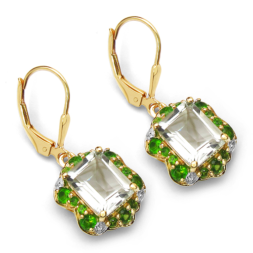 Amethyst-14K Yellow Gold Plated 5.60 Carat Genuine Amethyst, Chrome Diopside & White Topaz .925 Sterling Silver Earrings