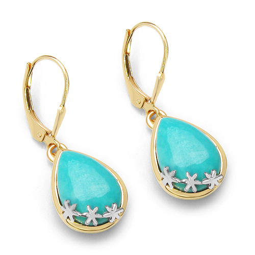 Earrings-14K Yellow Gold Plated 8.90 Carat Genuine Turquoise .925 Sterling Silver Earrings