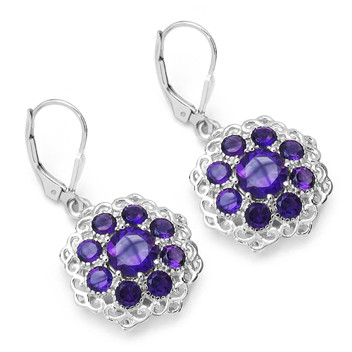 Amethyst-5.10 Carat Genuine Amethyst .925 Sterling Silver Earrings