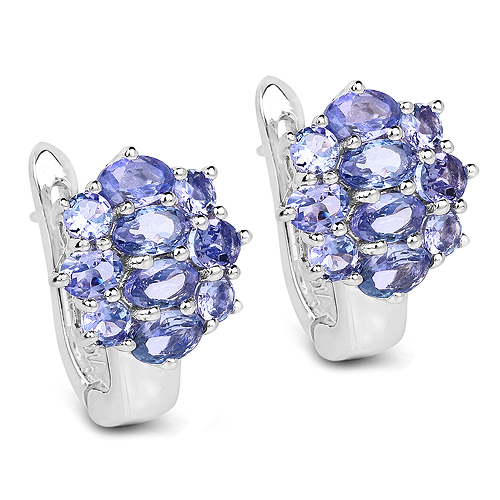 Earrings-3.48 Carat Genuine Tanzanite .925 Sterling Silver Earrings