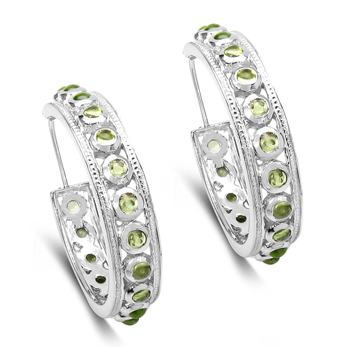 Peridot-4.32 Carat Genuine Peridot .925 Sterling Silver Earrings