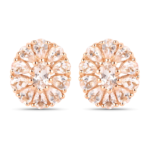 Earrings-14K Rose Gold Plated 3.40 Carat Genuine Morganite .925 Sterling Silver Earrings