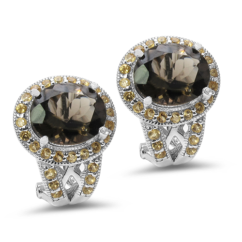 Earrings-10.36 Carat Genuine Smoky Quartz & Citrine .925 Sterling Silver Earrings