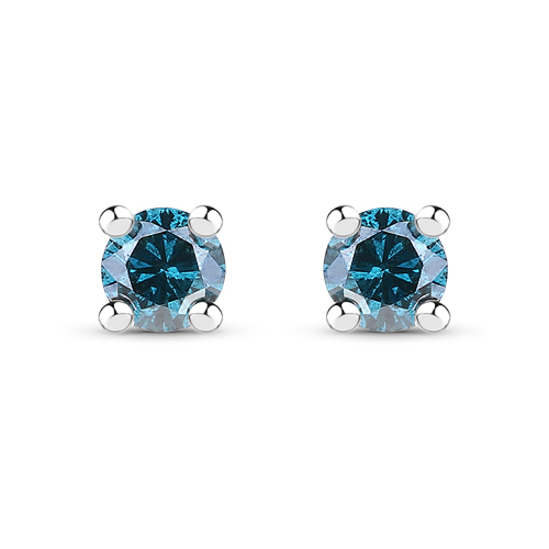 Earrings-0.18 Carat Genuine Blue Diamond .925 Sterling Silver Earrings