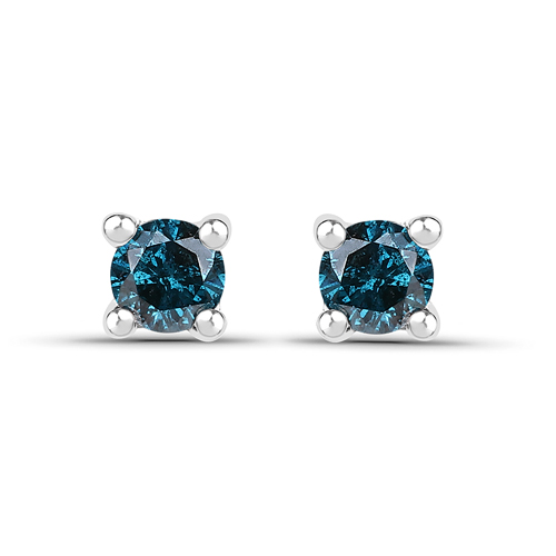 Earrings-0.20 Carat Genuine Blue Diamond .925 Sterling Silver Earrings